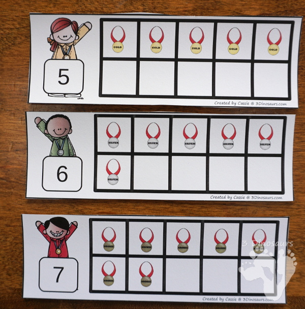 FREE Winter Olympics Ten Fram Cards Numbers 1 to 10 with two types of cards - 3Dinosaurs.com