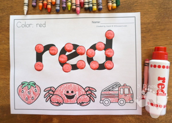Color Dot Marker Words With Coloring - 11 pages with dot marker word and 3 pictures to color - 3Dinosaurs.com