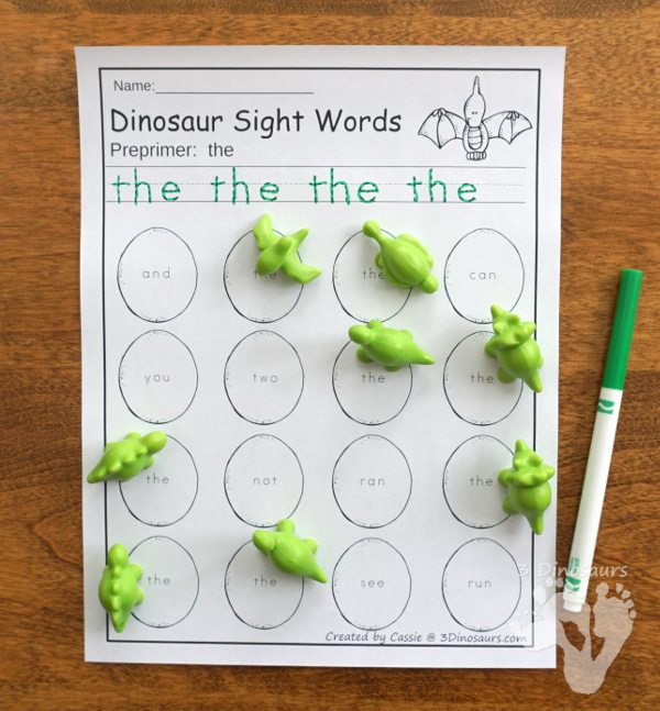 Dinosaur Themed Sight Word Activities - Puzzles, cards, tracing strips, writing strips and find - using the dolch sight word lists - 3Dinosaurs.com
