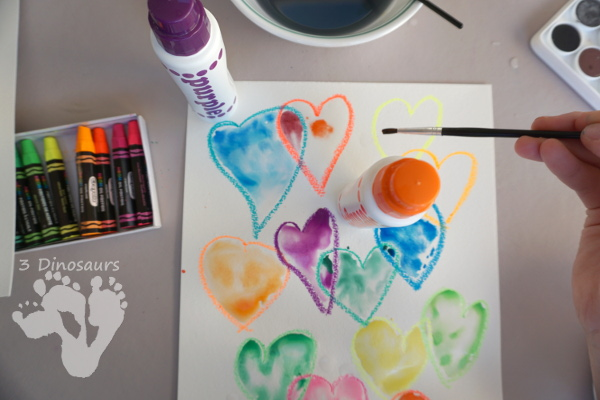 Watercolor Heart Process Art - a fun way to explore painting with watercolors - 3Dinosaurs.com