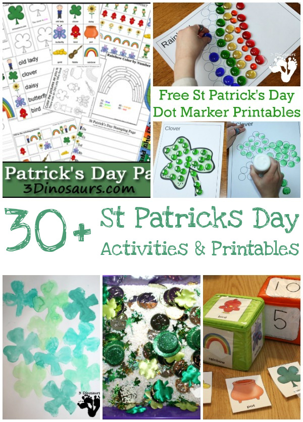 30+ St Patrick's Day Printables & Activities on 3 Dinosaurs: themed packs, writing, math, sensory bins, hands-on activities and more - 3Dinosaurs.com