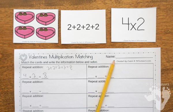 Free Valentines Multiplication by 2 Matching Cards - multplication by groups of 2 with recording sheet for kids to match and record - 3Dinosaurs.com
