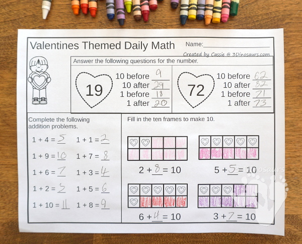 No-Prep Valentines Math Printables For Addition & Subtraction or Multiplication & Division - 30 pages in each set with review sheets at the end all in a Valetines theme with no cutting or prep work needed - 3Dinosaurs.com