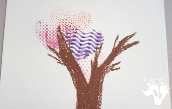Textured Heart Tree Watercolor Painting - a fun painting activity with textures to make a fun heart themed tree - 3Dinosaurs.com
