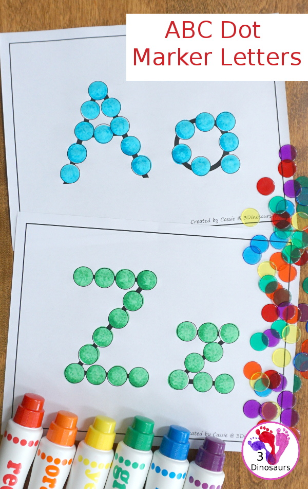 Free ABC Dot Marker Letters for the Whole Alphabet - Uppercase and lowercase dot markers together on the same page with all 26 letters for kids to use - 3Dinosaurs.com