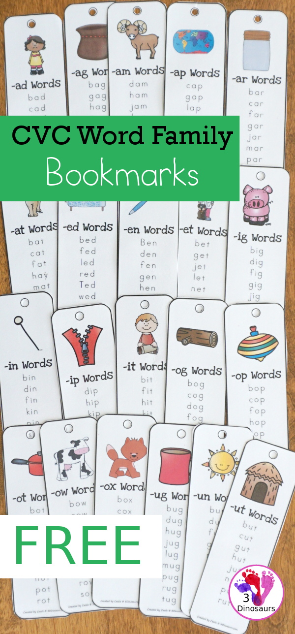 Free CVC Word Family Bookmarks. 4 Bookmarks per page - The following endings: -ad, -ag, -am, -an, -ap, -ar, at, -ed, -en, -et, -ig, -in, -ip, -it, -og, -op, -ot, -ow, -ox, -ug, -un, & -ut - 3Dinosaurs.com