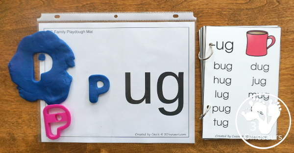 24 Free CVC Word Family Playdough Mats: -ad, -ag, -am, -an, -ar, -at, ay, -ed, -en, -et, -ig, -in, -ip, -it, -og, -op, -ot, -ow, -ox -oy, -ug, -un, -ut - Easy to use plus see a few ways to use the mats - 3Dinosaurs.com