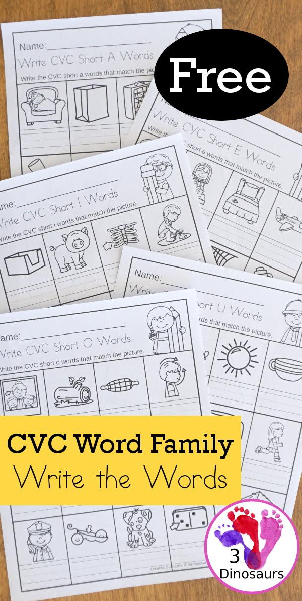 CVC Word Family Write The Words No-Prep Worksheet 3 Dinosaurs