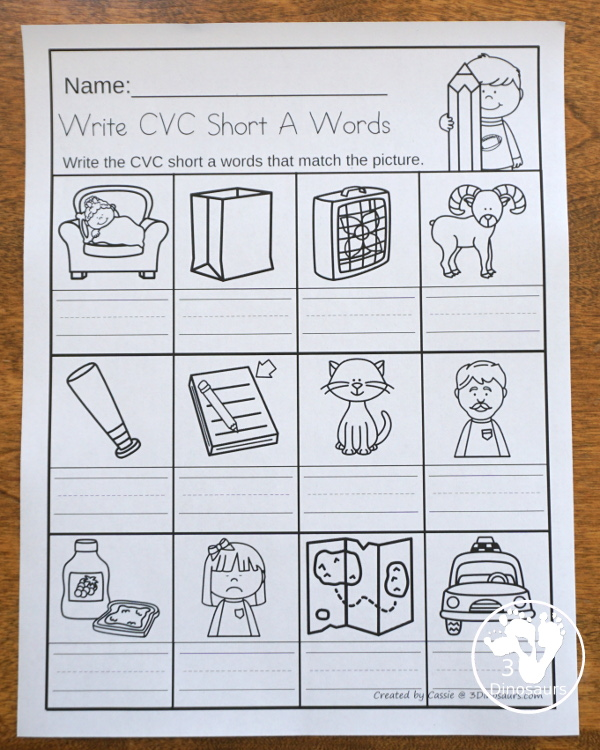 Cvc Word Family Write The Words No Prep Worksheet 3 Dinosaurs - 17+ Free Short Vowel Worksheets For Kindergarten Pics