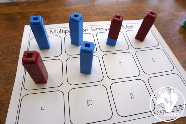 Free Groups of Multiplication - with hands-on math spinner, flashcards and recording sheets for working on multiplication - 3Dinosaurs.com  #3dinosaurs #thirdgrade #fourthgrade #multiplication #handsonmath #freeprintable