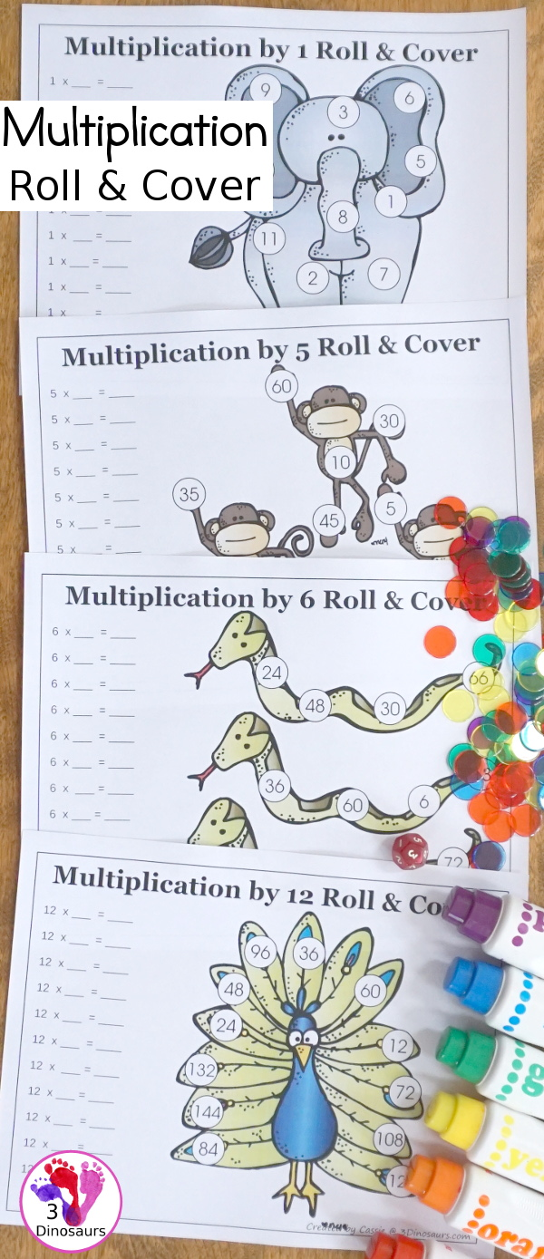 Free Multiplication Roll & Cover Printable - a fun zoo themed math activity that kids can use to work on multiplication from 1 to 12- 3Dinosaurs.com