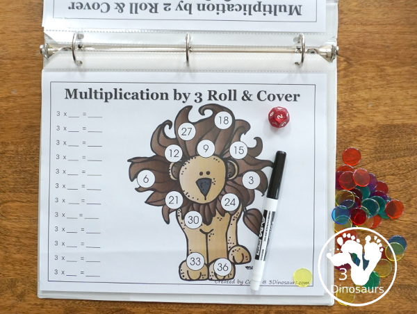 Free Multiplication Roll & Cover Printable - a fun zoo-themed math activity that kids can use to work on multiplication from 1 to 12- 3Dinosaurs.com