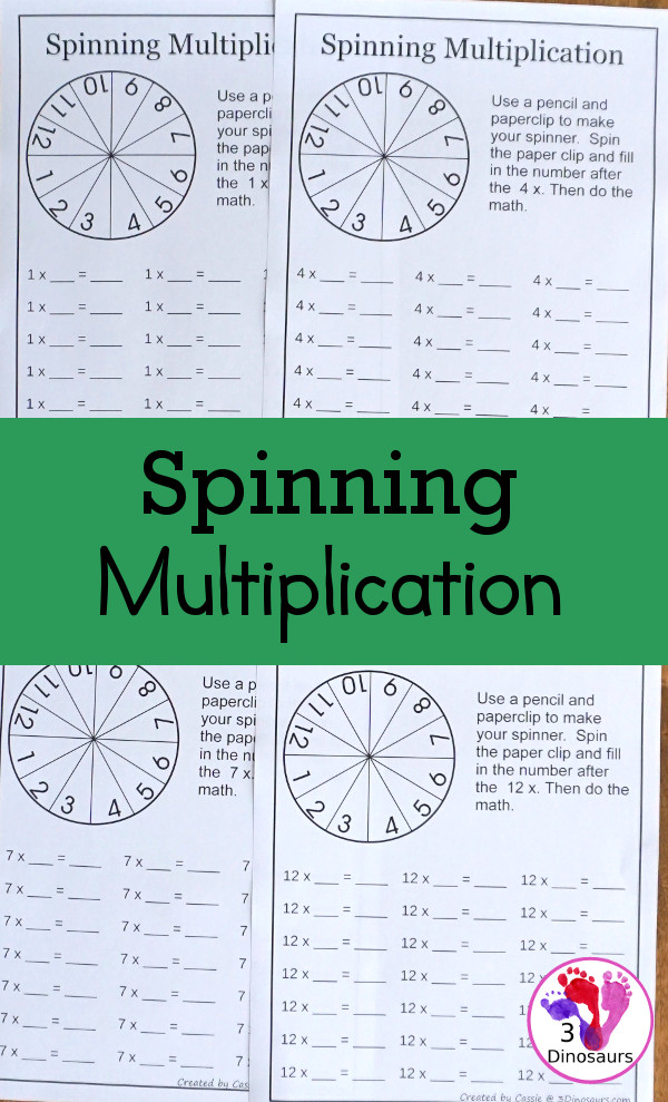 Free Spinning Multiplication Printable - an easy way to work on multiplication for numbers 1 to 12 in a no-prep worksheet - 3Dinosaurs.com