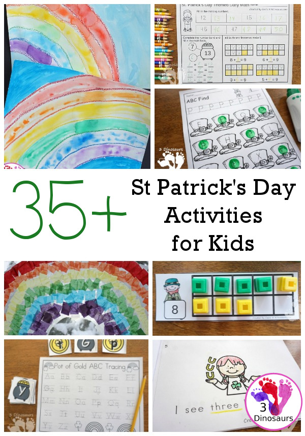 St. Patrick's Day Activities and Printables on 3 Dinosaurs