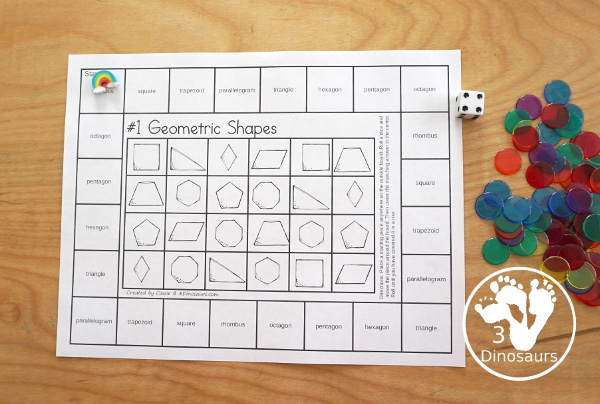 Free Geometric Shapes Board Games to work on 8 shapes: rhombus, square, trapezoid, triangle, hexagon, pentagon, and octagon with two boards for kids to use - 3Dinosaurs.com