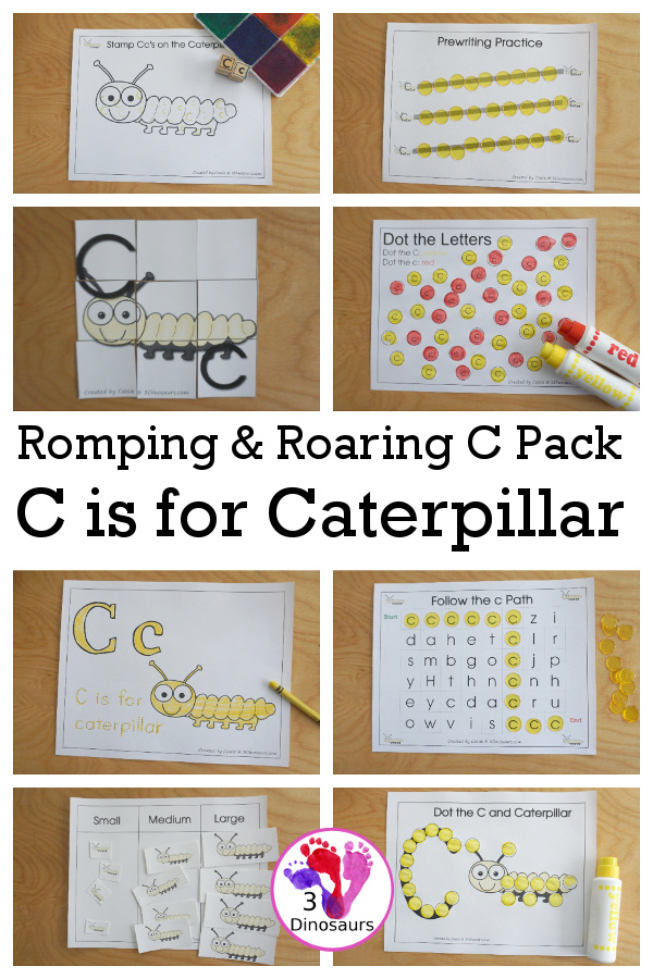 Romping & Roaring C Pack Letter Pack: C is for Caterpillar - a letter C pack that has prewriting, finding letters, tracing letters, coloring pages, shapes, puzzles and more - 3Dinosaurs.com