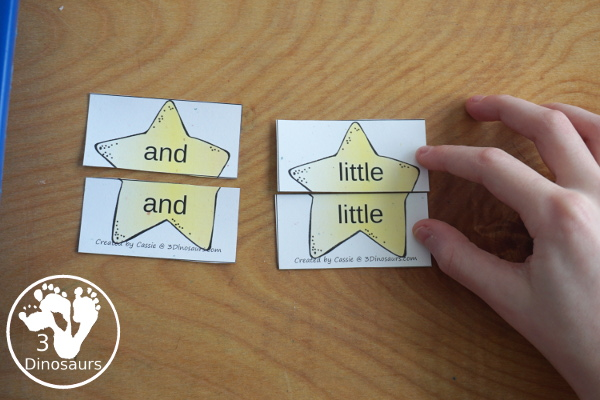 Free Space Theme Star Sight Word Matching Puzzles with 220 Sight Words - easy to use two piece puzzles for 220 sight words for kids to- 3Dinosaurs.com
