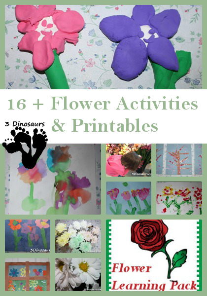16 + Flower Activities from 3 Dinosaurs
