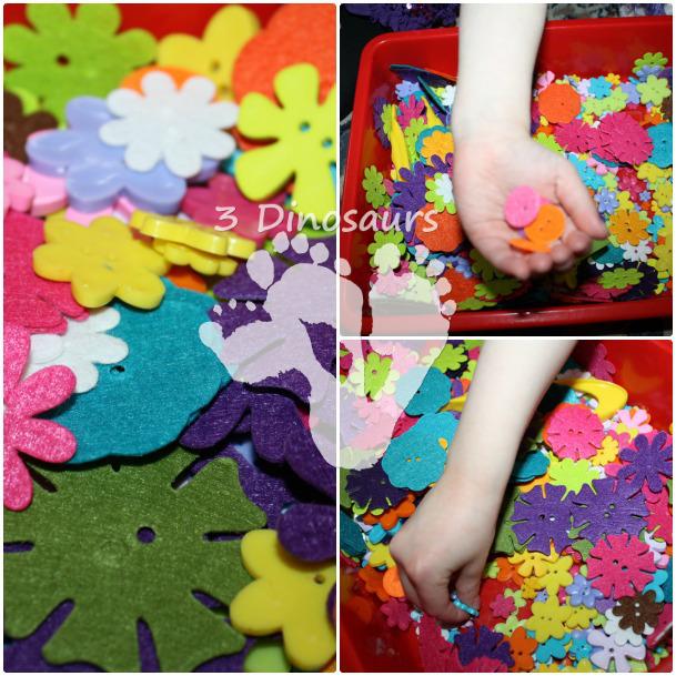 Flower Button Sensory Bin - 3Dinosaurs.com
