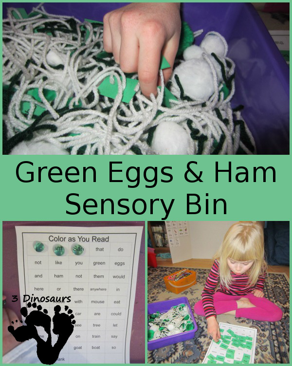Green Eggs And Ham Sensory Bin 3 Dinosaurs
