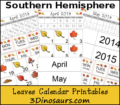 Free Leaves Calendar for Southern Hemisphere - 3Dinosaurs.com
