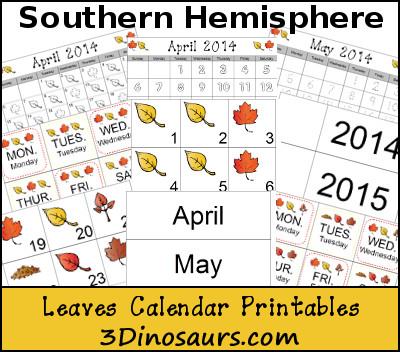 Free Leaves Calendar for Southern Hemisphere - 3Dinosaurs.com