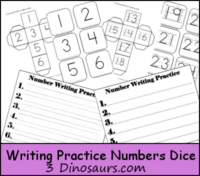 Free Writing Practice Numbers Dice - 3Dinosaurs.com