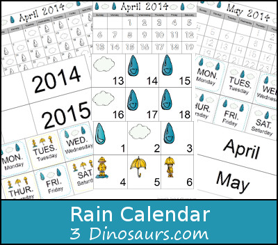 Free Rain Calendar - 3Dinosaurs.com
