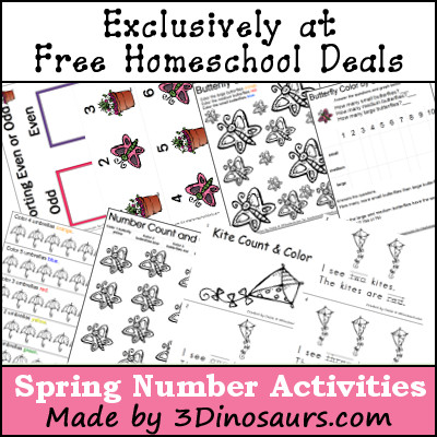 Spring Number Printables - 3Dinosaurs.com