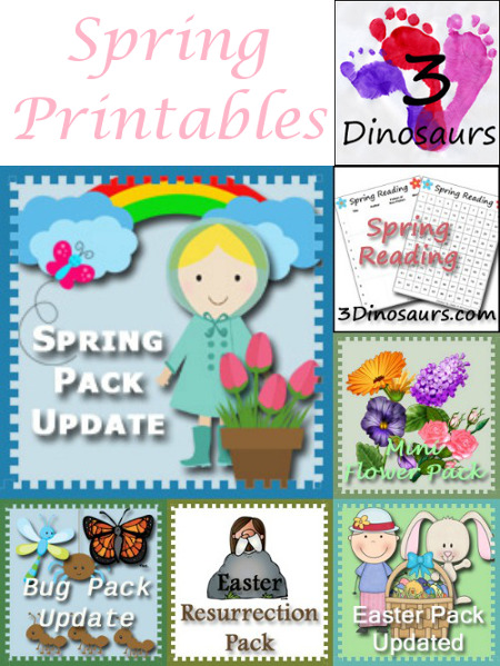 Round Up of Spring Printables on 3Dinosaurs.com