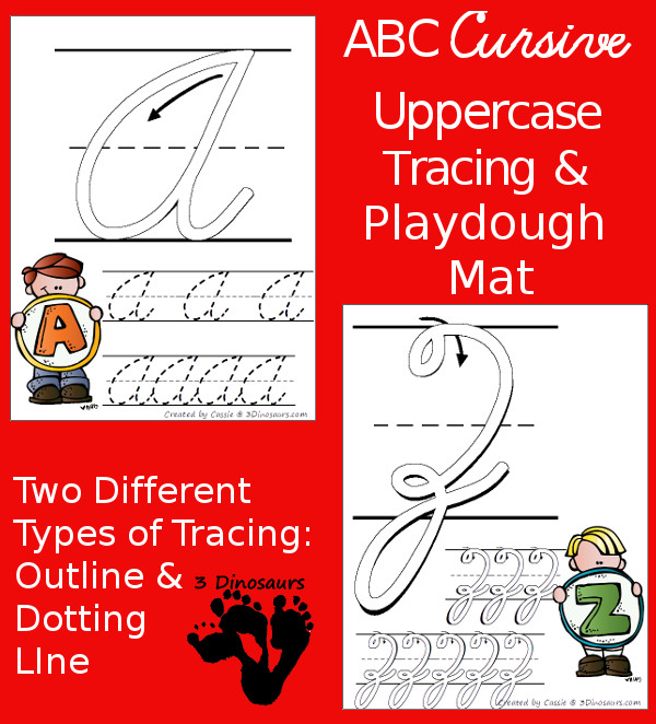 FREE ABC Uppercase Cursive Tracing Pages with Playdough Mats - 3Dinosaurs.com