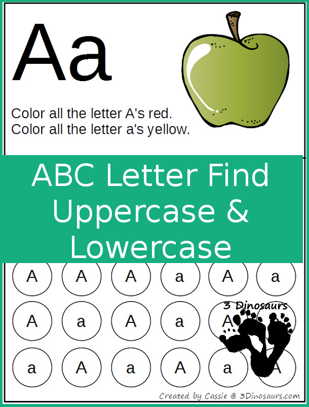 Free ABC Letter Find Uppercase & Lowercase Printable - 3Dinosaurs.com