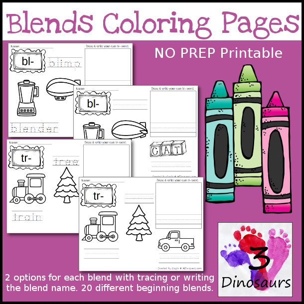 Blends Coloring Pages have the following blends: bl-, br-, cl-, cr-, fl-, fr--, gr-, gl-, pl-, pr-, sc-, sk-,sl-, sm-, sn-, sp-, st-, sw-, tr- - 3Dinosaurs.com
