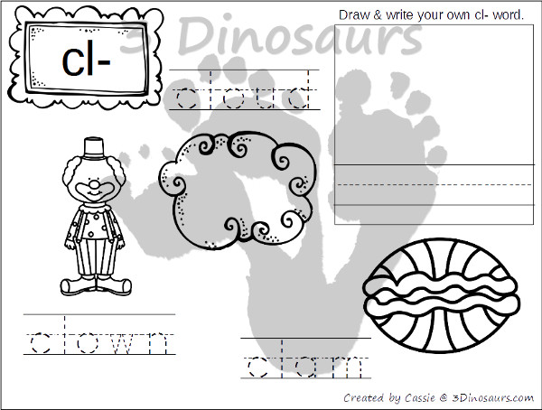 Free Blends Coloring Pages: Bl, Br, Cl, Cr - 3Dinosaurs.com