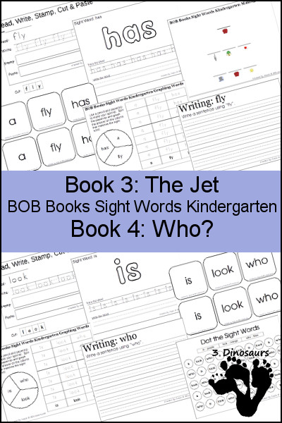 Early Reading Printables BOB Books Sight Words Kindergarten: Books 3 & 4 - 3Dinosaurs.com