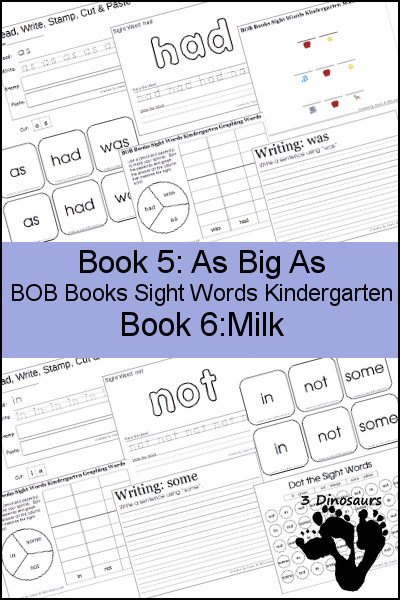 Early Reading Printables BOB Books Sight Words Kindergarten: Books 5 & 6 - 3Dinosaurs.com