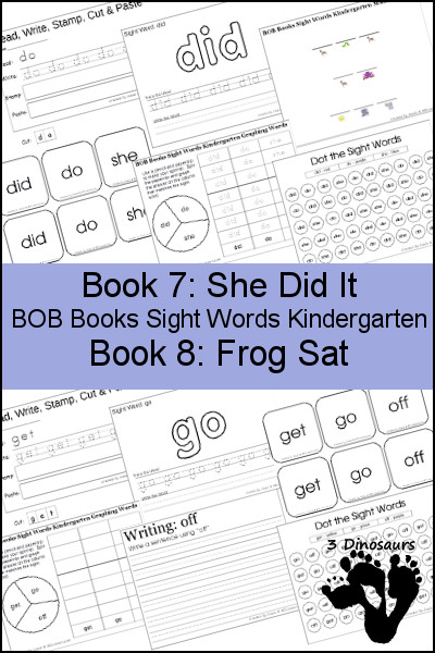 Early Reading Printables BOB Books Sight Words Kindergarten: Books 7 & 8 - 3Dinosaurs.com