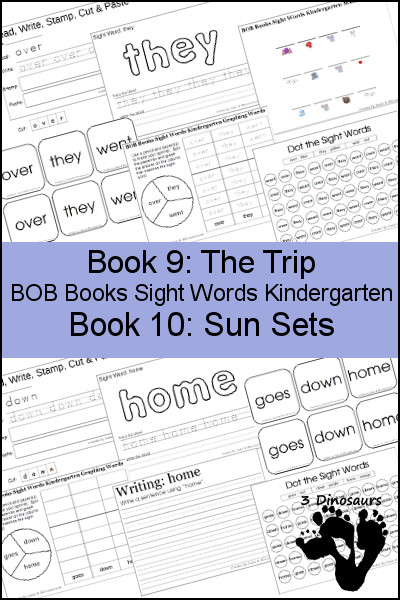 Early Reading Printables BOB Books Sight Words Kindergarten: Books 9 & 10 - 3Dinosaurs.com