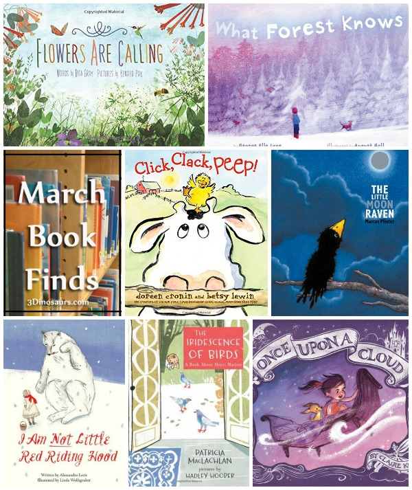 March 2015 Book Finds: flowers, 4 seasons, fairy tales, bullies, artists, gifts for mom, worms, farm  - 3Dinosaurs.com