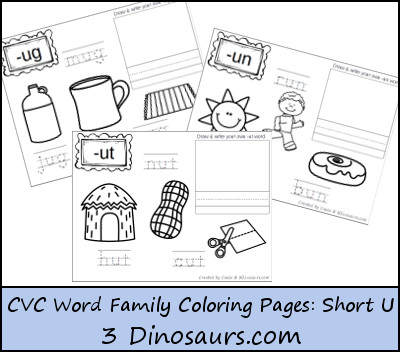 New CVC Word Family Coloring Pages: Short U Vowel - 3Dinosaurs.com