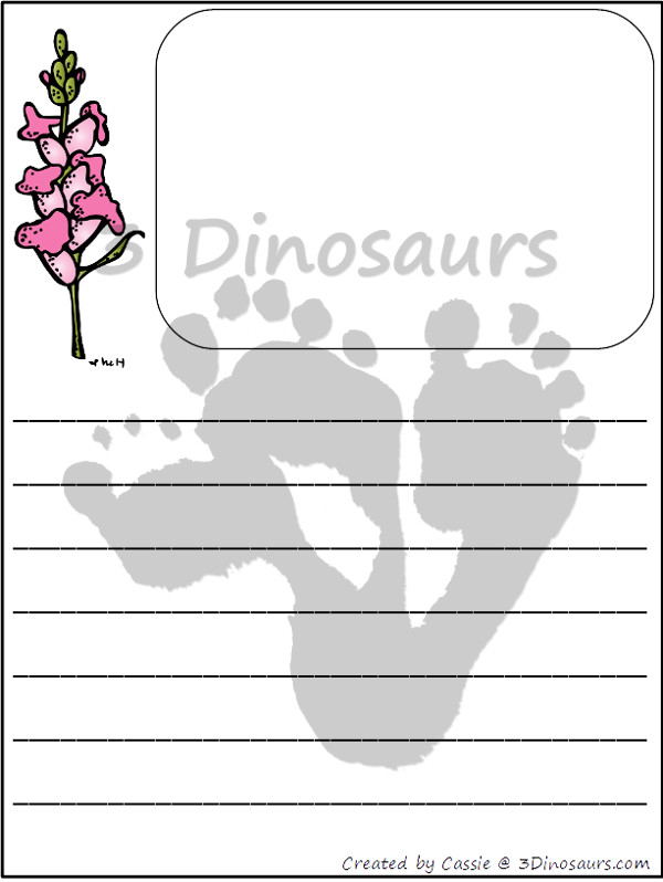 Free Flower Themed Writing Paper Printable - 3Dinosaurs.com