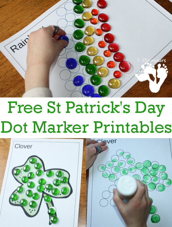 Free St Patrick's Day Dot Markers Printables - 3Dinosaurs.com