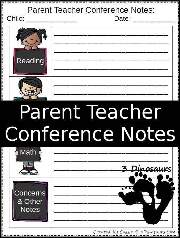 Free Parent Teacher Conference Printable - 3Dinosaurs.com