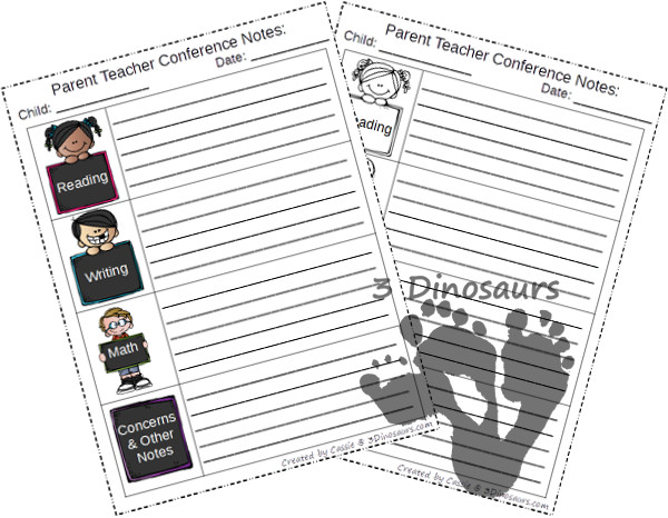 Free Parent Teacher Conference Printable - 3Dinosaurs.com