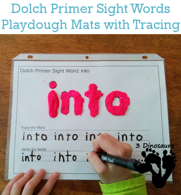 Dolch Primer Sight Words Playdough Mats with Tracing | 3 Dinosaurs