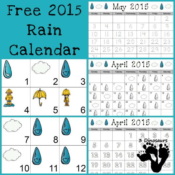 Free 2015 Rain Calendar - 3Dinosaurs.com