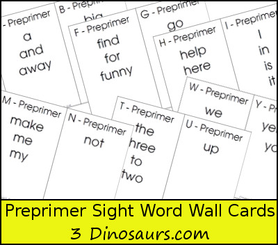 free dolch preprimer sight word wall cards 3dinosaurscom