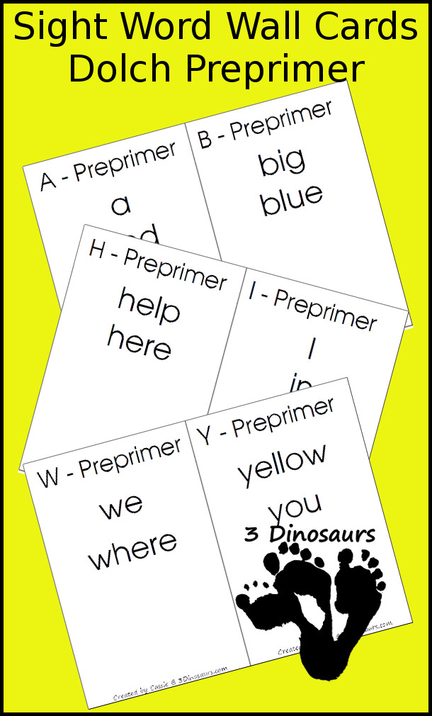 Free Dolch Preprimer Sight Word Wall Cards - 3Dinosaurs.com
