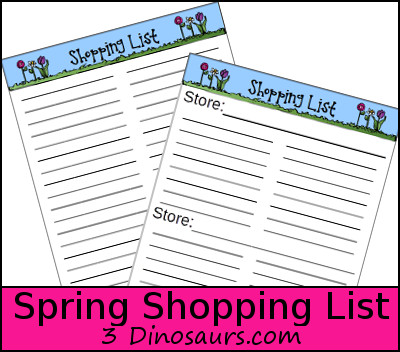 Free Spring Shopping List Printable - 3Dinosaurs.com