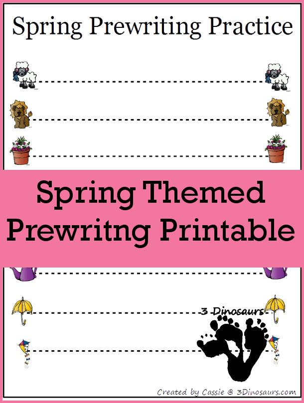 Free Spring Theme Prewriting Printable - 3Dinosaurs.com